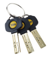 Three Yale branded, dimple cut keys